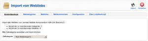 Import von Joomlas Weblinks
